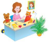 Menina com um portátil ilustração stock