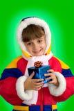 A menina com um presente Fotografia de Stock