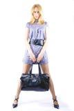 A menina com um saco Imagem de Stock Royalty Free
