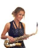 Menina com um saxofone Imagem de Stock Royalty Free