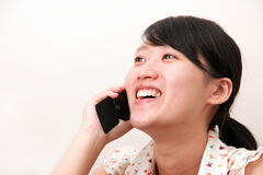 Menina com um telemóvel Fotos de Stock