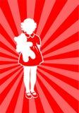 Menina com um urso ilustração do vetor