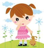 Menina com um urso ilustração royalty free