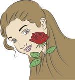 A menina com um vermelho levantou-se Imagem de Stock Royalty Free