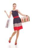 Menina com uma caixa de presente em um fundo branco foto de stock