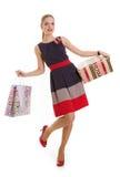 Menina com uma caixa de presente em um fundo branco imagens de stock