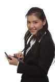 Menina com uma calculadora. fotografia de stock
