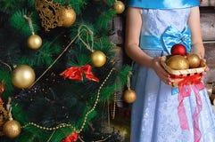 Menina com uma cesta de decorações do Natal Está perto da árvore de Natal fotografia de stock