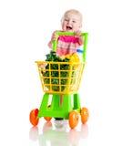 Menina com uma cesta dos produtos Imagens de Stock Royalty Free