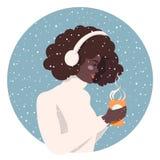 Menina com uma chávena de café ilustração royalty free