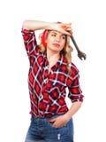 Menina com uma chave retro Fotografia de Stock Royalty Free