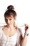 Menina com uma colar Fotos de Stock