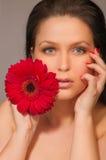 Menina com uma flor Imagens de Stock Royalty Free