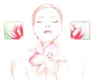 Menina com uma flor nos TERMAS ilustração do vetor