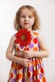Menina com uma flor vermelha Imagem de Stock
