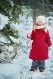 Menina com uma lanterna elétrica Floresta, dia de inverno fotografia de stock royalty free