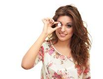 Menina com uma moeda Fotos de Stock Royalty Free