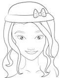 Menina com uma página da coloração do chapéu Foto de Stock