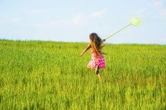 Menina com uma rede da borboleta Fotografia de Stock Royalty Free