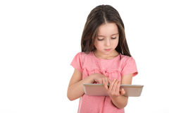 Menina com uma tabuleta Fotografia de Stock Royalty Free