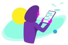 Menina com uma tabuleta do écran sensível ilustração royalty free