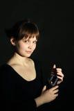 Menina com uma vela grande Fotografia de Stock