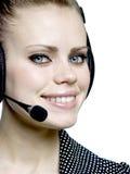 Menina com uns auriculares Imagens de Stock