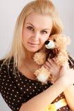 Menina com urso do brinquedo Foto de Stock Royalty Free