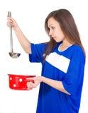Menina com utensílio Imagem de Stock