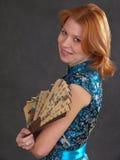 Menina com ventilador foto de stock royalty free