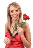 A menina com vermelho levantou-se Imagens de Stock Royalty Free