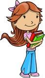 Menina com vetor dos livros Fotos de Stock