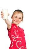 Menina com vidro de leite Imagens de Stock