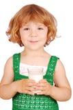 Menina com vidro do leite Imagem de Stock Royalty Free