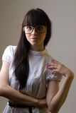 Menina com vidros Fotos de Stock Royalty Free
