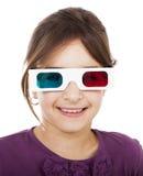 Menina com vidros 3D Fotos de Stock Royalty Free