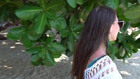 Menina com vidros que anda lentamente no fundo das folhas verdes, árvores video estoque