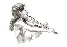 Menina com violino Fotos de Stock Royalty Free