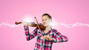 Menina com violino Foto de Stock