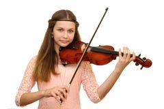 Menina com violino Fotos de Stock