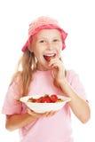 A menina come uma morango Foto de Stock