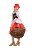 Menina como pouco tampão vermelho no fundo branco Fotos de Stock Royalty Free
