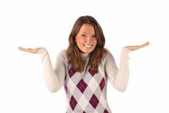 Menina confusa no fundo branco Foto de Stock Royalty Free