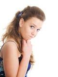 Menina confusa no vestido do verão sobre o branco Fotografia de Stock