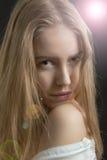Menina consideravelmente pensativa fotografia de stock