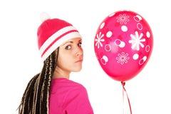 Menina cor-de-rosa. Balão cor-de-rosa. Imagens de Stock