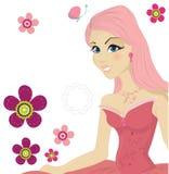 Menina cor-de-rosa bonito ilustração stock
