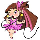 Menina cor-de-rosa bonito da estrela mundial ilustração stock