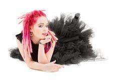 Menina cor-de-rosa do cabelo Fotos de Stock Royalty Free