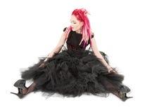Menina cor-de-rosa do cabelo foto de stock